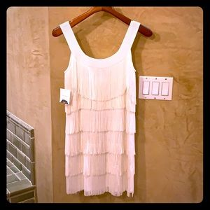 White fringe mini dress NWT